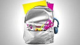 Full schoolbag isolated on white background